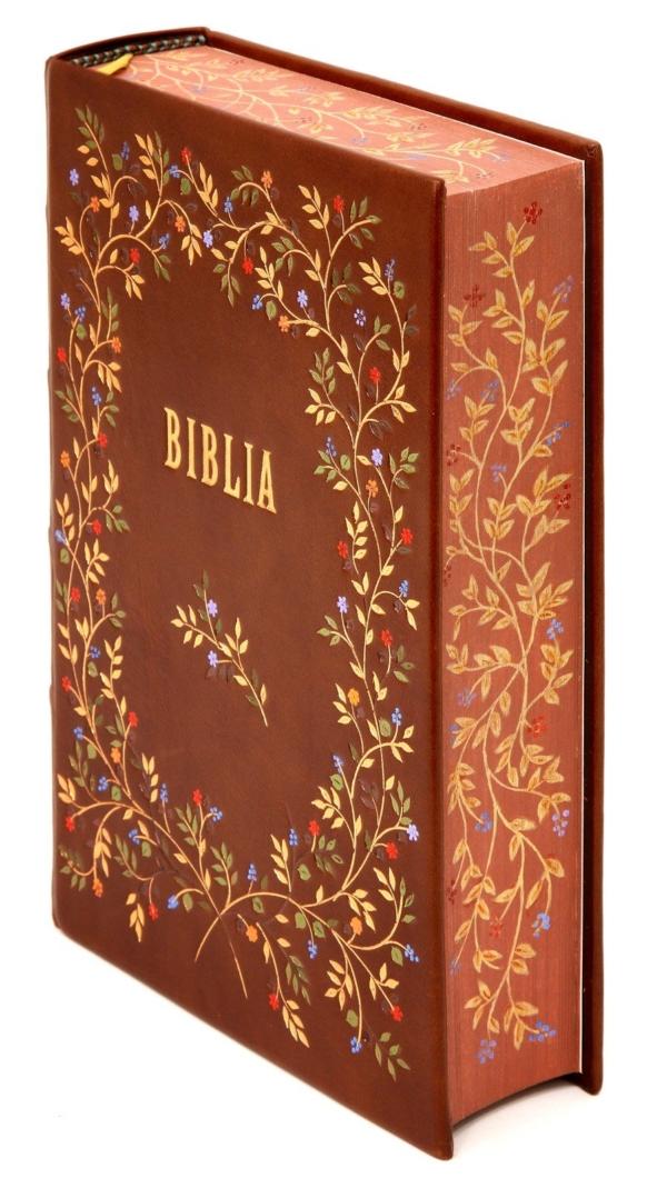 Biblia w skórzanej oprawie idealna na prezent komunijny