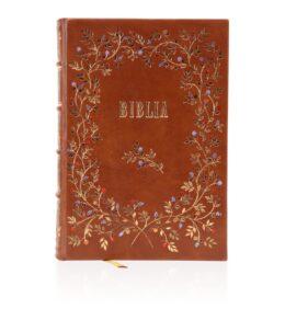 Biblia ręcznie oprawiona w skórę