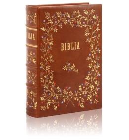 Biblia w skórzanej oprawie na prezent komunijny