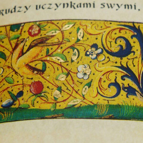 Zdobione złotem detale w książce Jana od Krzyża św., Rady i wskazówki