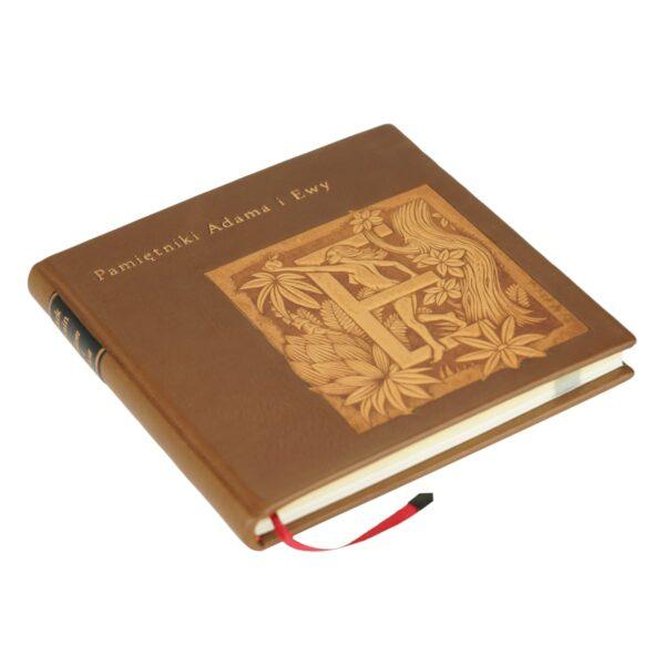 Książka Twaina Marka, Pamiętniki Adama i Ewy ręcznie oprawiona w skórę