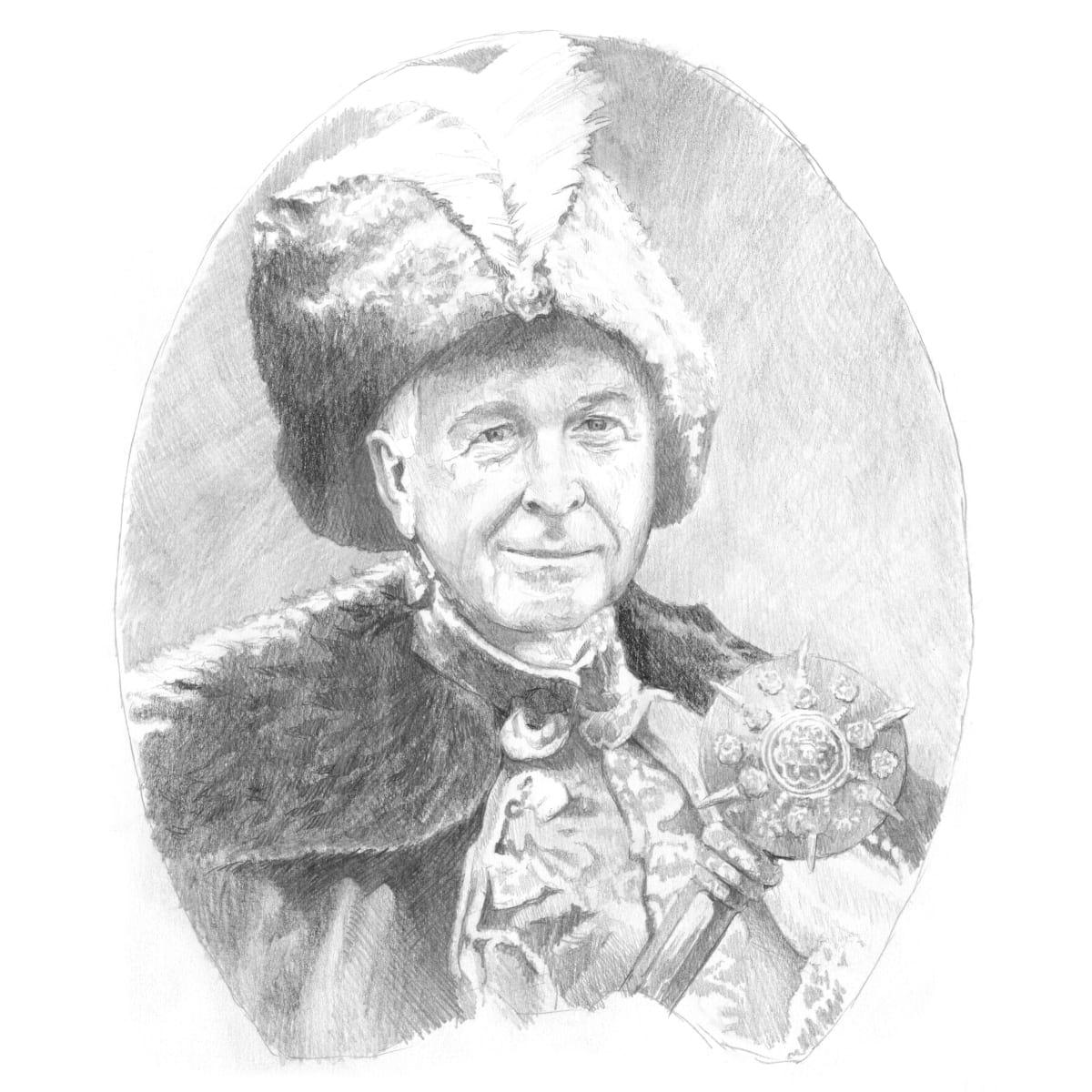 Portret właściciela książki wykonany przez artystę